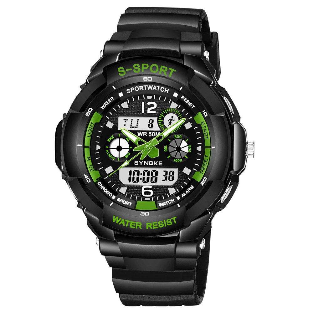 SYNOKE 67316 Waterproof Men Sports Watch - BLACK/GREEN