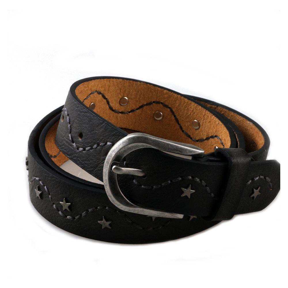 Women's Studded Leather Belt with Star and Embroider - BLACK