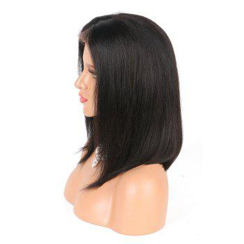 Modern Fairy Human Hair Lace Front Wig Bob Style - BLACK 8INCH