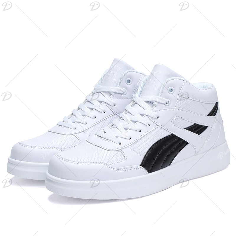 Men's Sneakers Lacing Couple Style All Match Comforty Shoes - BLACK WHITE 43