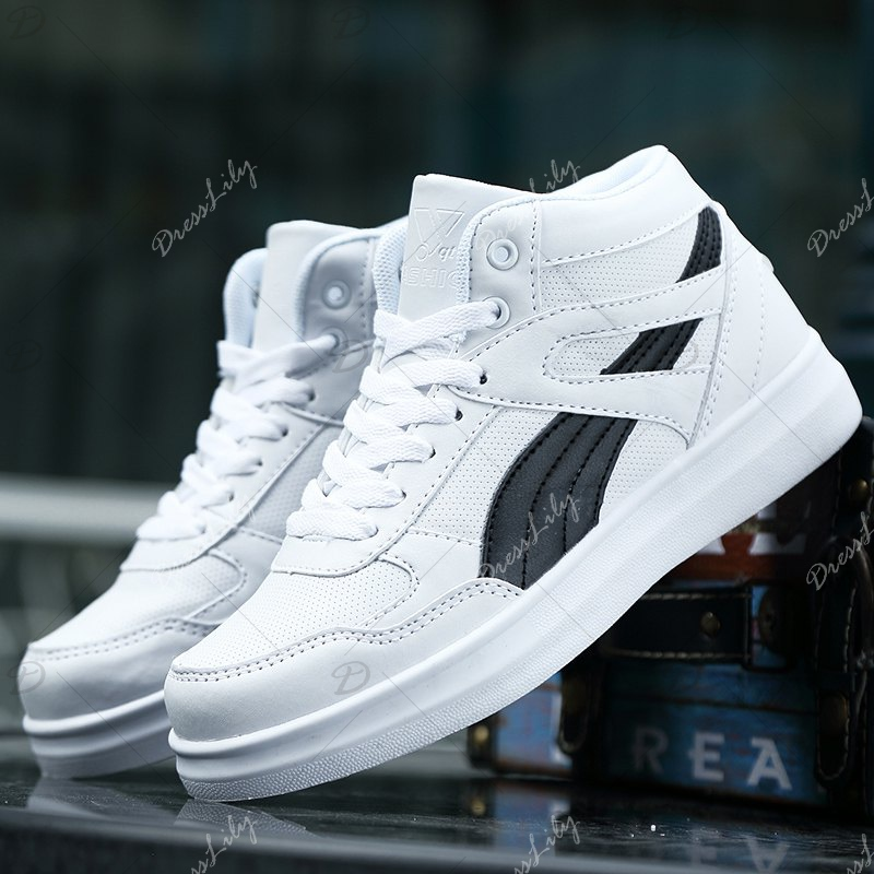 Men's Sneakers Lacing Couple Style All Match Comforty Shoes - BLACK WHITE 42