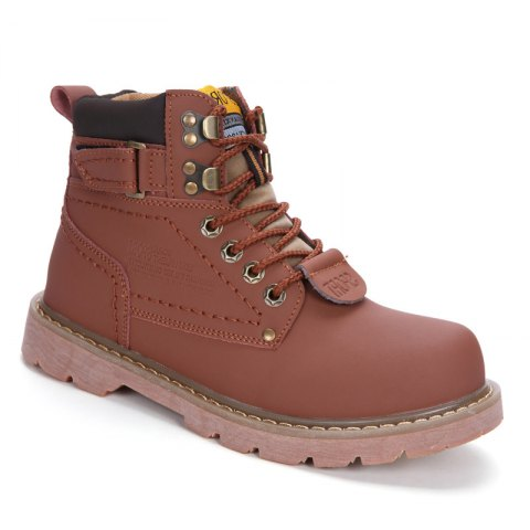 Men's Boots Solid Color Lace Up PU Outdoor Fashion Shoes - LIGHT BROWN 38