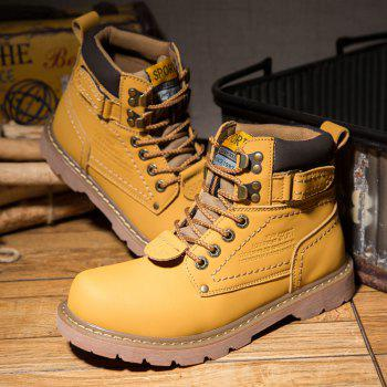 Men's Boots Solid Color Lace Up PU Outdoor Fashion Shoes - CITRUS CITRUS