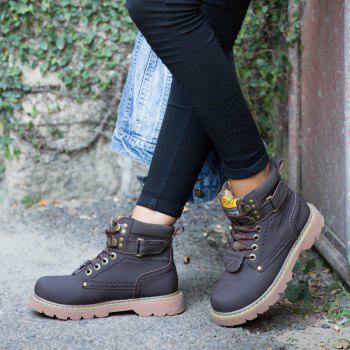 Men's Boots Solid Color Lace Up PU Outdoor Fashion Shoes - DEEP BROWN 38