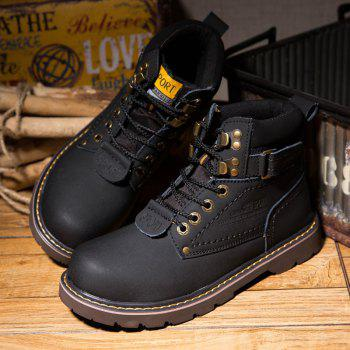 Men's Boots Solid Color Lace Up PU Outdoor Fashion Shoes - BLACK 38