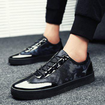 Men's Sneakers Cozy Print Lace Up Casual Comfy Shoes - BLACK / BLUE 40