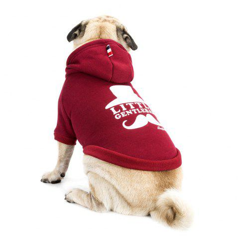 Lovely Little Beard Hoddie Sweater for Dogs and Cats - WINE RED S