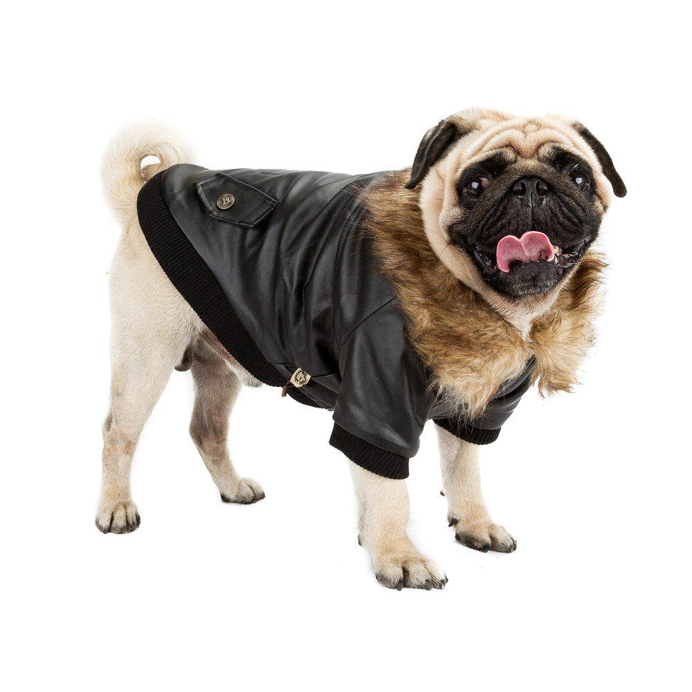 Dog Fuax Fur Collar Cozy and Warm PU Leather Jacket - BLACK XL