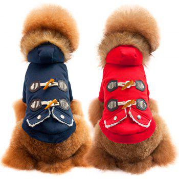Fashion Horn Buckle Winter Jacket For Dogs and Cats - BLUE L