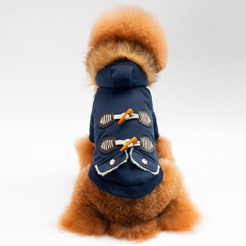 Fashion Horn Buckle Winter Jacket For Dogs and Cats - BLUE XL