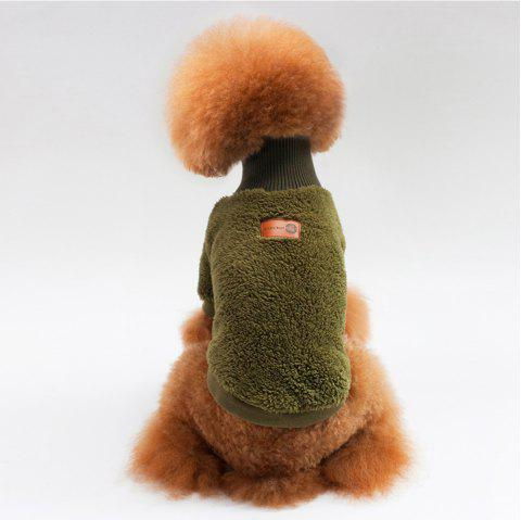 Solid Color Coral Fleece Sweater for Dogs and Cats - DARK GREEN S