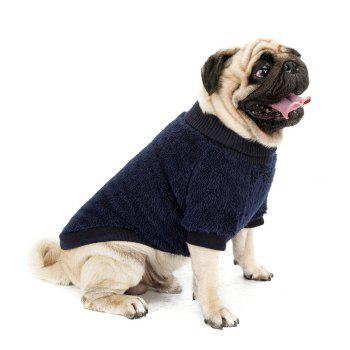 Solid Color Coral Fleece Sweater for Dogs and Cats - BLUE L
