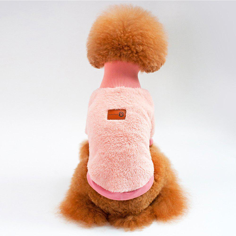 Solid Color Coral Fleece Sweater for Dogs and Cats - PINK M