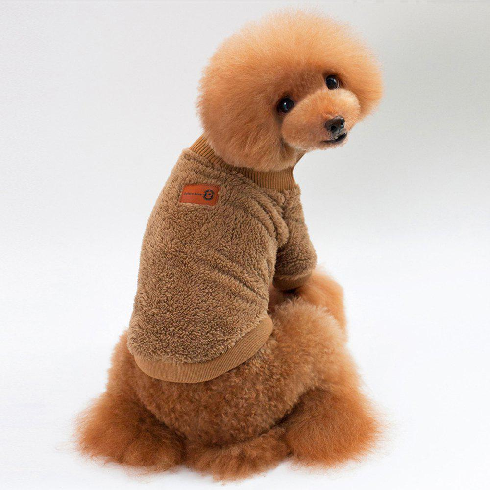 Solid Color Coral Fleece Sweater for Dogs and Cats - KHAKI L