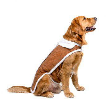 Large Dog Suede Winter Jacket - BROWN BROWN