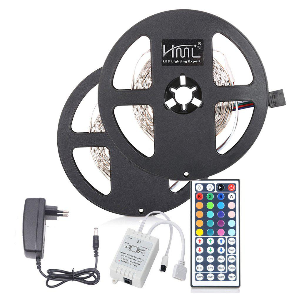 HML 2pcs x 5M 24W RGB 2835 SMD 300 LED Strip Light with IR 44 Keys Remote Control+ DC Adapter(EU Plug) - RGB