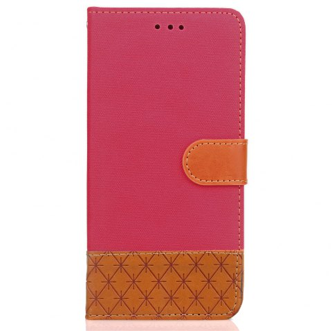 Dual Color Stitching Jeans Cloth Texture Leather Wallet Case with Stand for Samsung Galaxy Note 8 - ROSE RED
