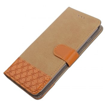 Dual Color Stitching Jeans Cloth Texture Leather Wallet Case with Stand for Samsung Galaxy Note 8 - BEIGE