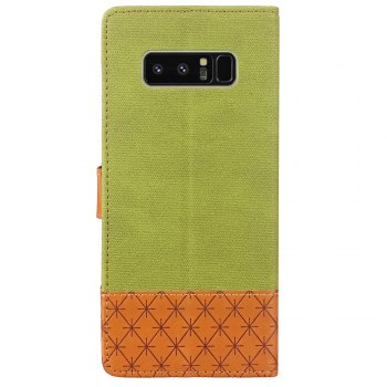 Dual Color Stitching Jeans Cloth Texture Leather Wallet Case with Stand for Samsung Galaxy Note 8 - GREEN / BROWN