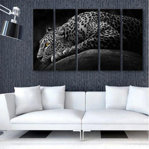 Special Design Frameless Paintings Lonely Cheetah 5PCS - BLACK/GREY 12 X 35 INCH (30CM X 90CM)
