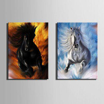 Special Design Frameless Paintings Horses running 2PCS - WHITE / BLACK 9 X 13 INCH (24CM X 34CM)