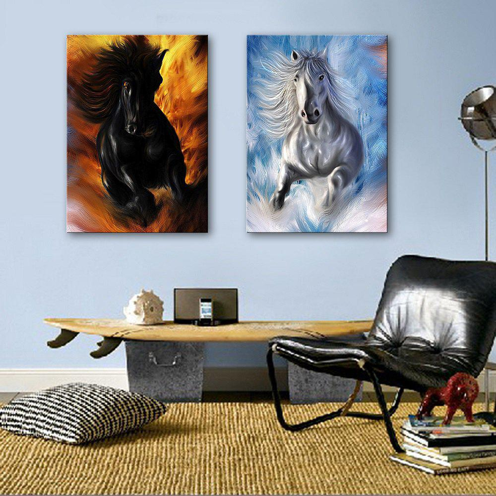 Special Design Frameless Paintings Horses running 2PCS - WHITE / BLACK 16 X 11 INCH (40CM X 28CM)