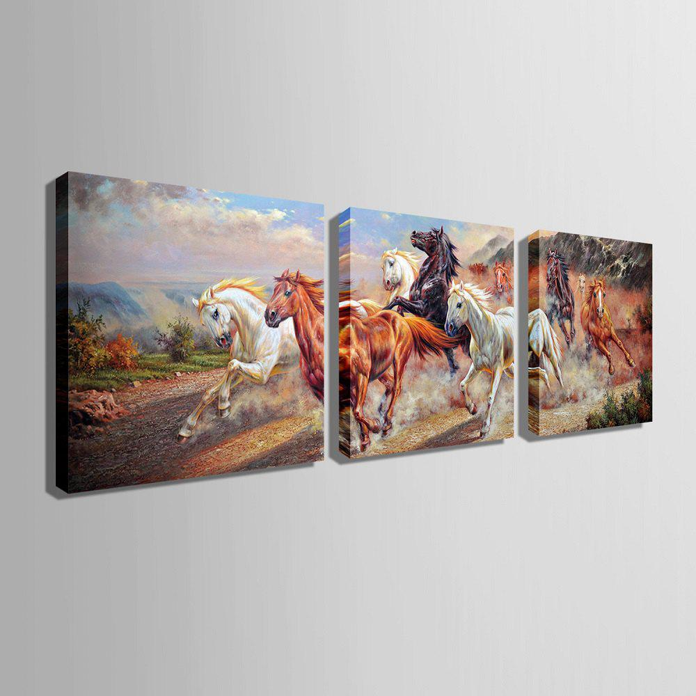 Special Design Frameless Paintings Horses running 3PCS - BROWN 16 X 16 INCH (40CM X 40CM)