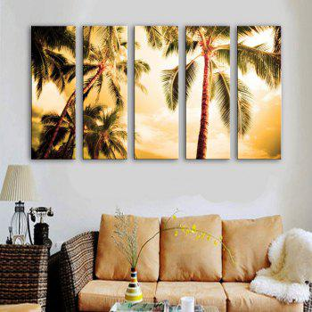 Special Design Frameless Paintings The Coconut 5PCS - BROWN BROWN