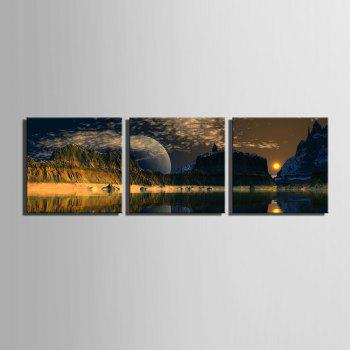 Special Design Frameless Paintings The mountain sunrise 3PCS - BLACK BLACK