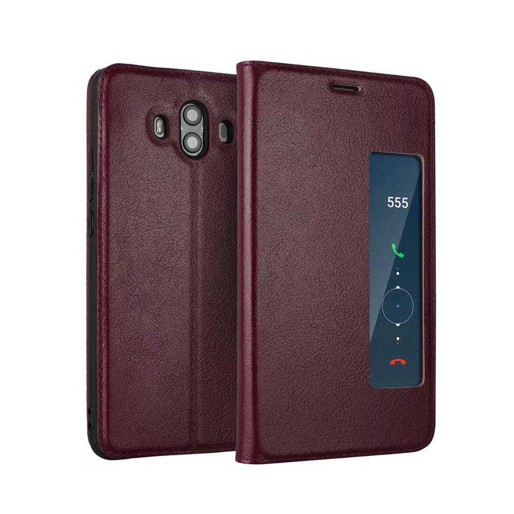Wkae Genuine Cowhide Leather Smart Cover Case with View Window for Huawei Mate 10 - WINE RED