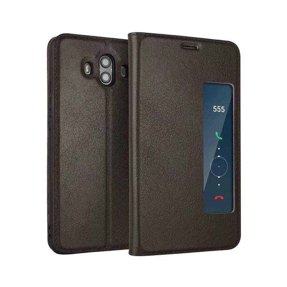 Wkae Genuine Cowhide Leather Smart Cover Case with View Window for Huawei Mate 10 - COFFEE