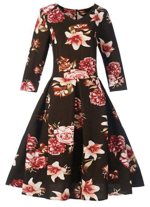 Women's Fashion Dress Vintage Floral Pattern Chic Dress - BLACK S
