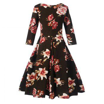Women's Fashion Dress Vintage Floral Pattern Chic Dress - BLACK BLACK