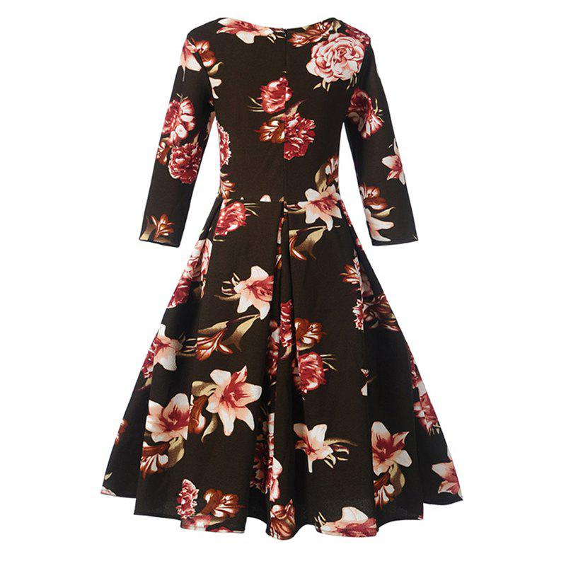Women's Fashion Dress Vintage Floral Pattern Chic Dress - BLACK L