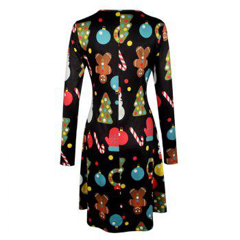 Women's Aline Dress Floral Print Pattern Long Sleeve Midi Dress - BLACK 2XL