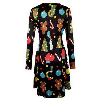 Women's Aline Dress Floral Print Pattern Long Sleeve Midi Dress - BLACK L