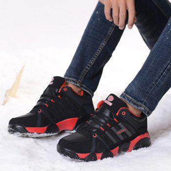 Couple Models Winter Extra Large Plus Velvet Sports Shoes - BLACK/RED 39
