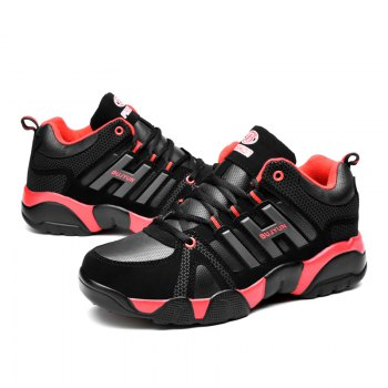Couple Models Winter Extra Large Plus Velvet Sports Shoes - BLACK/RED 36