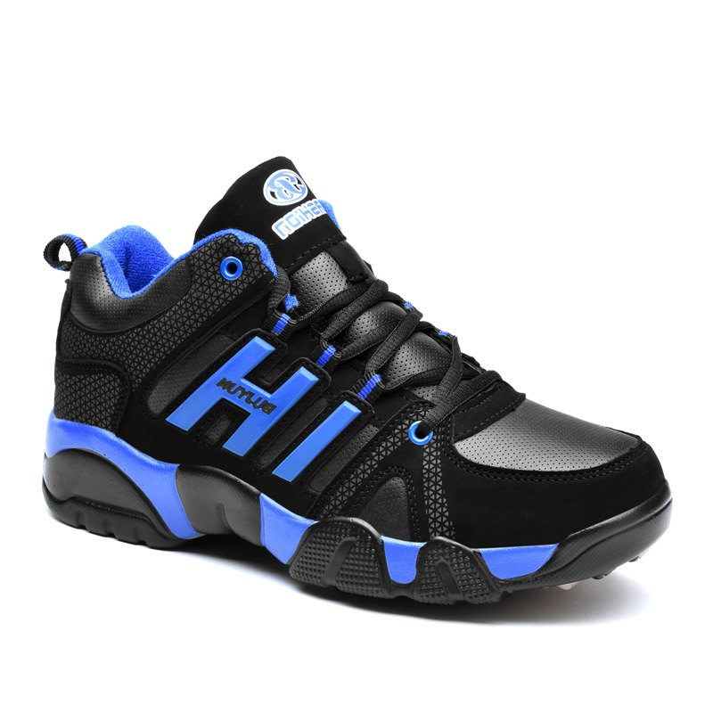 Couple Models Winter Extra Large Plus Velvet Sports Shoes - BLACK / BLUE 38