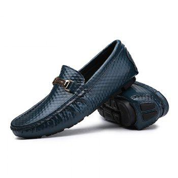 European and American MenBusiness Leather Peas Shoes - BLUE BLUE