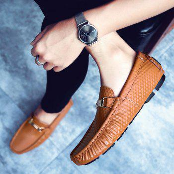 European and American MenBusiness Leather Peas Shoes - BROWN BROWN