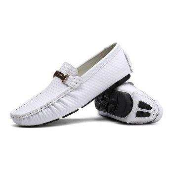 European and American MenBusiness Leather Peas Shoes - WHITE WHITE