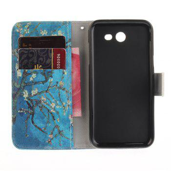 Apricot Blossom Pattern PU+TPU Leather Case Design with Stand and Card Slots Magnetic Closure for Samsung Galaxy J3 2017 J320 The American Version - BLACK