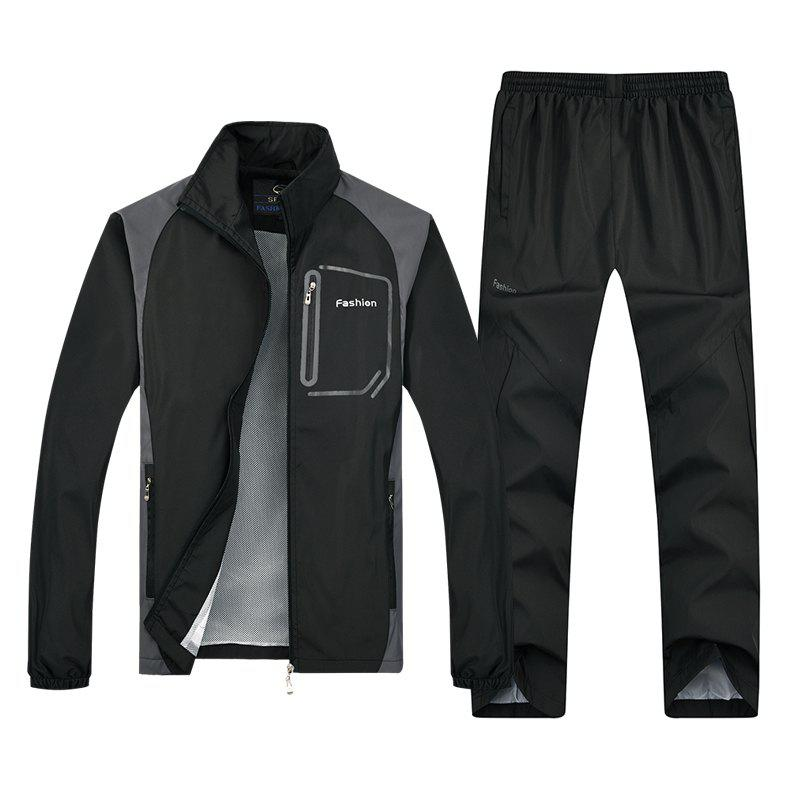 Fashion Sports Suit for Men - BLACK 4XL