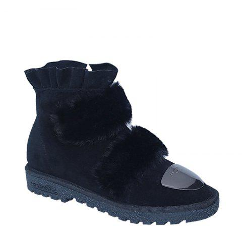 2017 New Female Winter Thick Warm Flat All-match Antiskid Shoes - BLACK 37