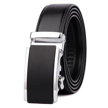 Men's  Leather Belt Reversible Wide Rotated Simple Automatic Buckle  G89007 - BLACK+GOLD+BLACK BLACK/GOLD/BLACK
