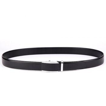 Men's  Leather Belt Reversible Wide Rotated Simple Automatic Buckle  G89007 - BLACK/GOLD/BLACK BLACK/GOLD/BLACK