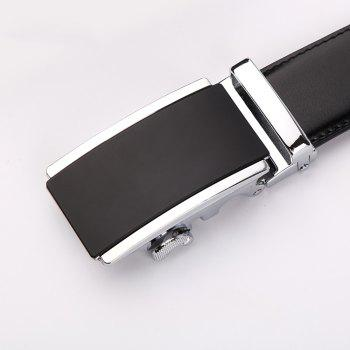 Men's  Leather Belt Reversible Wide Rotated Simple Automatic Buckle  G89007 - BLACK/GOLD/BLACK 125CM