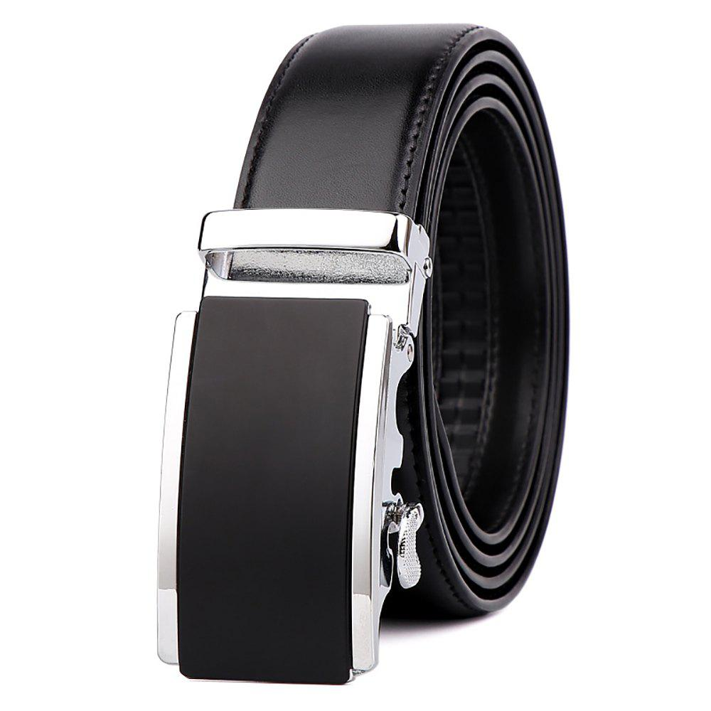 Men's  Leather Belt Reversible Wide Rotated Simple Automatic Buckle  G89007 - BLACK/GOLD/BLACK 105CM