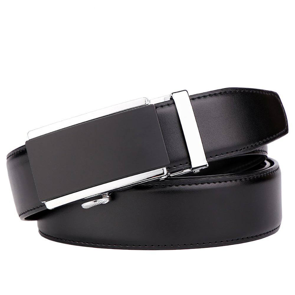 Men's  Leather Belt Reversible Wide Rotated Simple Automatic Buckle  G89007 - BLACK/GOLD/BLACK 120CM